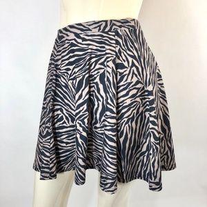 Topshop Zebra Print Skater Skirt